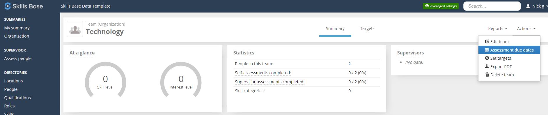 Skills Base Dashboard Assessment Due Date